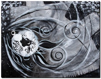 Skeleton in Space  Modern Abstract Fish Art Artwork Paintings J Vincent Scarpace
