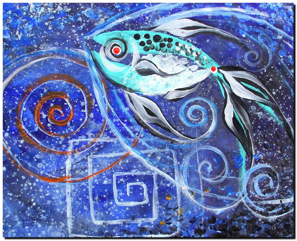 Spiraled Spiral Squared Spiral  Modern Abstract Fish Art Artwork Paintings J Vincent Scarpace