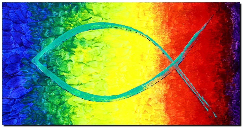 The Peace of Love  Modern Abstract Fish Art Artwork Paintings J Vincent Scarpace