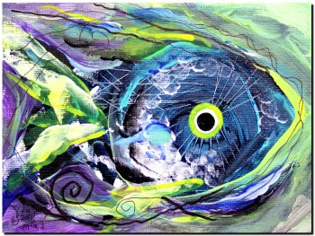 Mini Fish I  Modern Abstract Fish Art Artwork Paintings J Vincent Scarpace