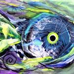 Mini Fish I  Modern Abstract Fish Art Artwork Paintings J Vincent Scarpace