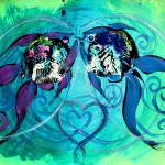 First Kiss  Modern Abstract Fish Art Artwork Paintings J Vincent Scarpace