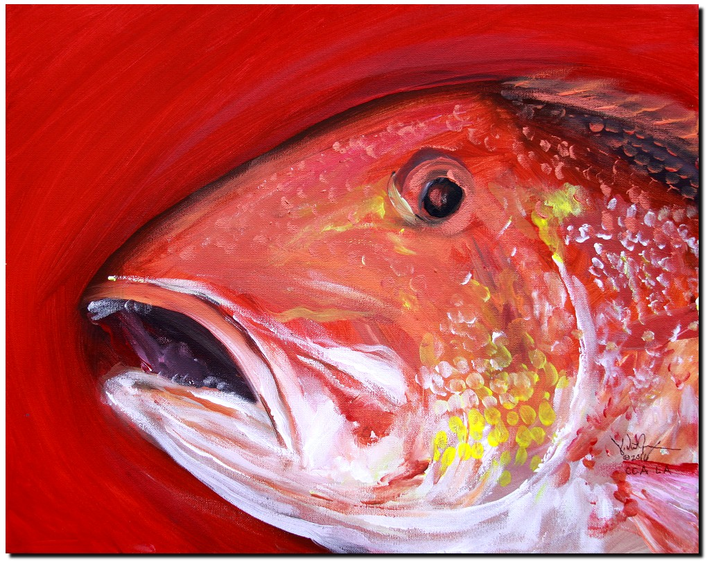 Abstract Redfish  Modern Abstract Fish Art Artwork Paintings J Vincent Scarpace