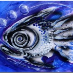 Three Bubbles  Modern Abstract Fish Art Artwork Paintings J Vincent Scarpace