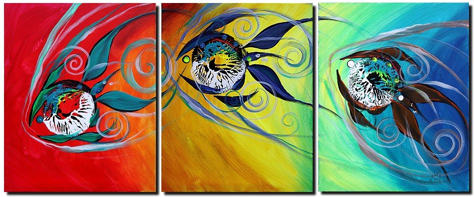 Courage In the Spectrum  Modern Abstract Fish Art Artwork Paintings J Vincent Scarpace