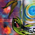 Pisces with Six Fence Lotus  Modern Abstract Fish Art Artwork Paintings J Vincent Scarpace