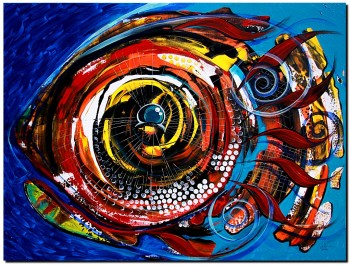 Lady Fish in Fall   Modern Abstract Fish Art Artwork Paintings J Vincent Scarpace