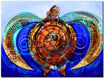 Salty Sea and Surf Sea Turtle  Modern Abstract Fish Art Artwork Paintings J Vincent Scarpace
