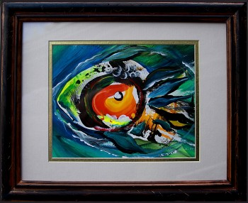 Fire Face Fish Four  Modern Abstract Fish Art Artwork Paintings J Vincent Scarpace