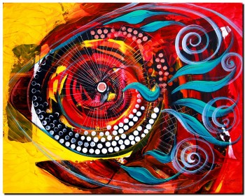 Fish Sublime with Extra Lime  Modern Abstract Fish Art Artwork Paintings J Vincent Scarpace