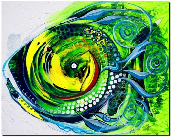Copper Eyed Teal Tail  Modern Abstract Fish Art Artwork Paintings J Vincent Scarpace