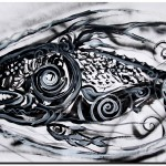 Huge Psycho One  Modern Abstract Fish Art Artwork Paintings J Vincent Scarpace