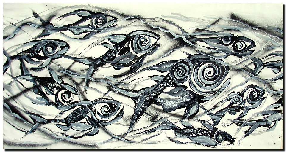 School  Modern Abstract Fish Art Artwork Paintings J Vincent Scarpace