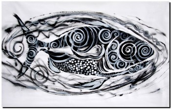 Huge Psycho Three  Modern Abstract Fish Art Artwork Paintings J Vincent Scarpace