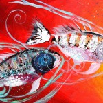 Three Spined Sticklebacks on Three  Modern Abstract Fish Art Artwork Paintings J Vincent Scarpace