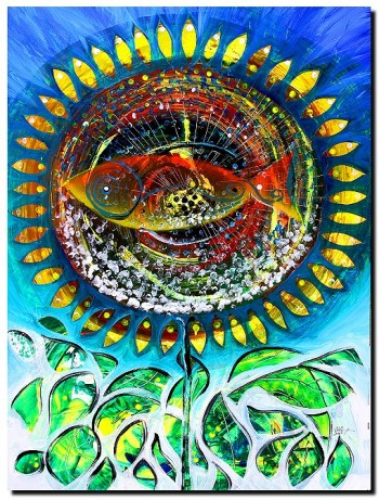 Fish Flower Follower  Modern Abstract Fish Art Artwork Paintings J Vincent Scarpace