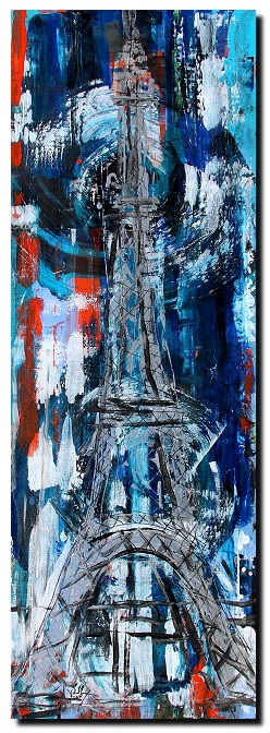Tour Eiffel  Modern Abstract Fish Art Artwork Paintings J Vincent Scarpace