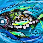 Concerned Female Soldier Fish  Modern Abstract Fish Art Artwork Paintings J Vincent Scarpace