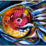 So No its Pinkeye  Modern Abstract Fish Art Artwork Paintings J Vincent Scarpace