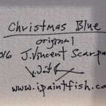 Christmas Blue  Modern Abstract Fish Art Artwork Paintings J Vincent Scarpace