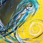 Teal on Black  Yellow  Modern Abstract Fish Art Artwork Paintings J Vincent Scarpace