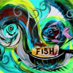 Fish Fry for Lent  Modern Abstract Fish Art Artwork Paintings J Vincent Scarpace