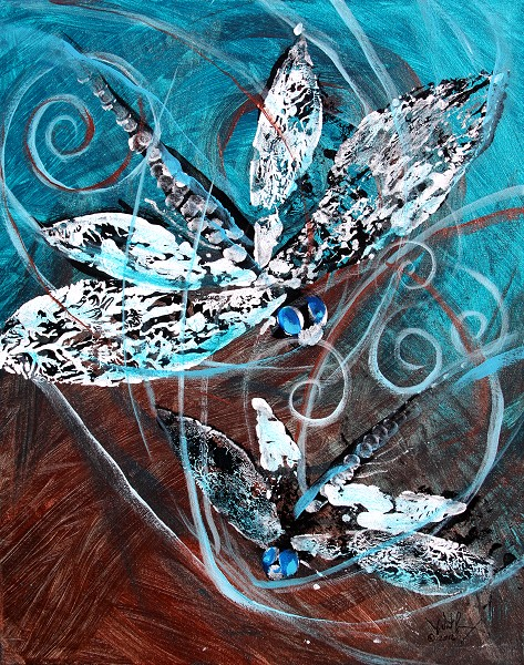 Abstract DragonFly   Modern Abstract Fish Art Artwork Paintings J Vincent Scarpace