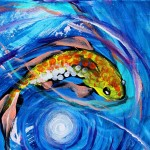 Three Family Moonlight  Modern Abstract Fish Art Artwork Paintings J Vincent Scarpace