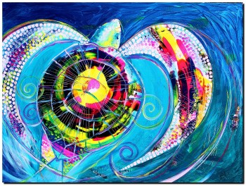 That Turtle Specific Pacific Sea Turtle  Modern Abstract Fish Art Artwork Paintings J Vincent Scarpace