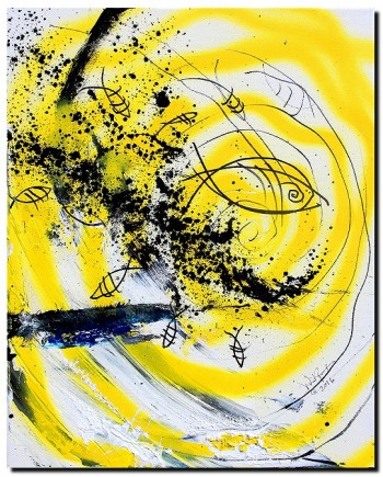 In Support of Bees Bumble Bee Tragic Attack  Modern Abstract Fish Art Artwork Paintings J Vincent Scarpace