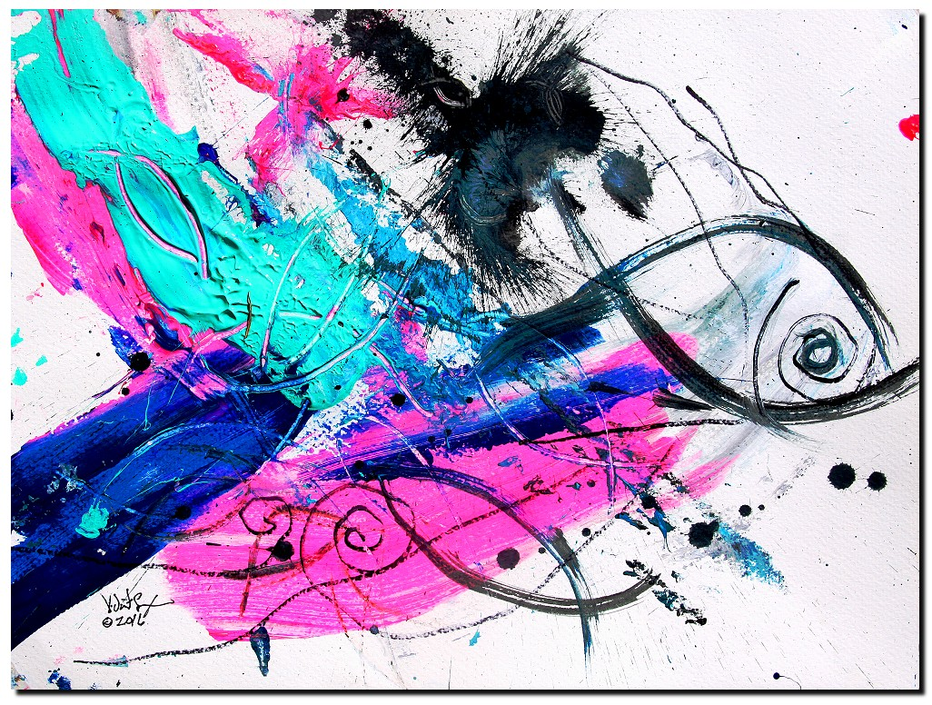 Florida Ahhh  Escape My Own Cage  Modern Abstract Fish Art Artwork Paintings J Vincent Scarpace