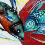 Slow Down There Diver Down   Modern Abstract Fish Art Artwork Paintings J Vincent Scarpace