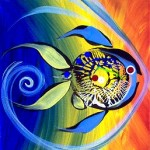 One Compliment Two Results  Modern Abstract Fish Art Artwork Paintings J Vincent Scarpace