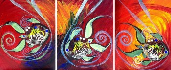 Carnival Fish  Modern Abstract Fish Art Artwork Paintings J Vincent Scarpace