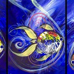 IceFish Three Into Violet  Modern Abstract Fish Art Artwork Paintings J Vincent Scarpace