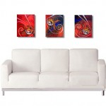 Red Fish Three for Three  Modern Abstract Fish Art Artwork Paintings J Vincent Scarpace