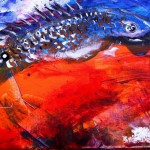 Year of the Rooster Year of the Fish  Modern Abstract Fish Art Artwork Paintings J Vincent Scarpace