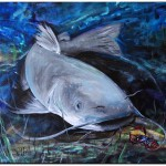The Catfish and the Crawdad  Modern Abstract Fish Art Artwork Paintings J Vincent Scarpace