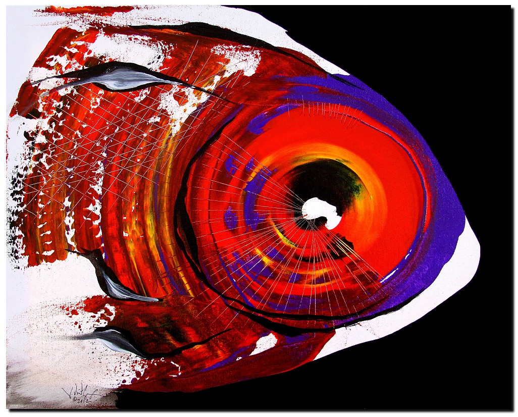 Contempo One  Modern Abstract Fish Art Artwork Paintings J Vincent Scarpace