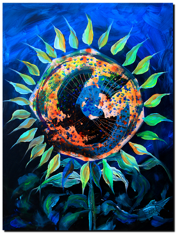 Girasol de la Noche  Modern Abstract Fish Art Artwork Paintings J Vincent Scarpace