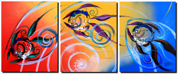 Three Over Sparkling Moonlight  Modern Abstract Fish Art Artwork Paintings J Vincent Scarpace
