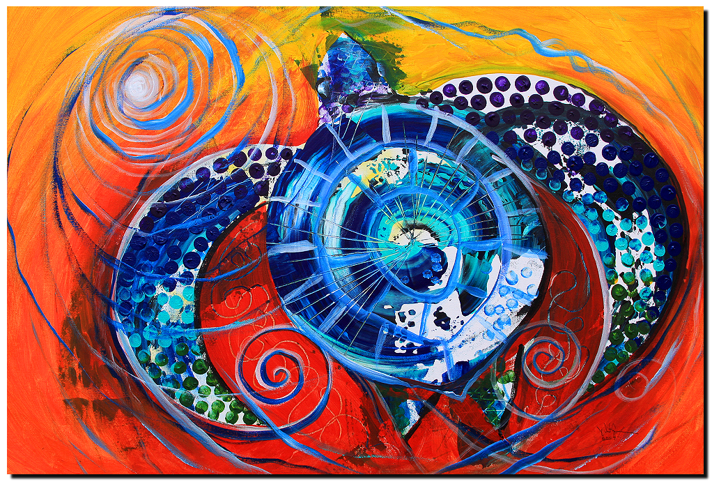 Slopical Tropical Sea Turtle  Modern Abstract Fish Art Artwork Paintings J Vincent Scarpace