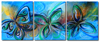 Butterflies in Blue  Green  Modern Abstract Fish Art Artwork Paintings J Vincent Scarpace