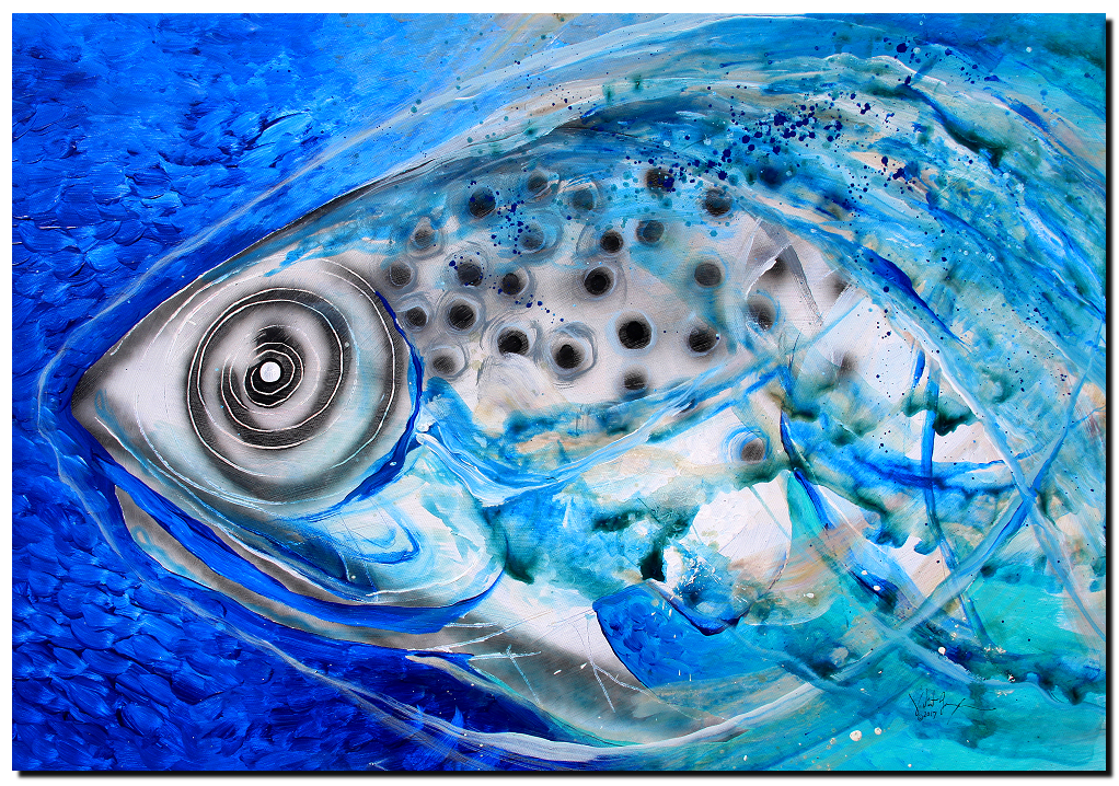 Sincerity Recycled  Modern Abstract Fish Art Artwork Paintings J Vincent Scarpace