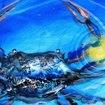 Blue Crab Abstract  Modern Abstract Fish Art Artwork Paintings J Vincent Scarpace