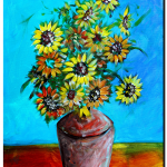 Abstract Sunflowers wVase  Modern Abstract Fish Art Artwork Paintings J Vincent Scarpace