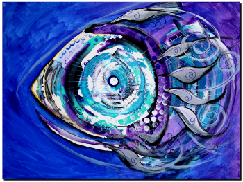 Yellow Snoot on Purple  Blue  Modern Abstract Fish Art Artwork Paintings J Vincent Scarpace