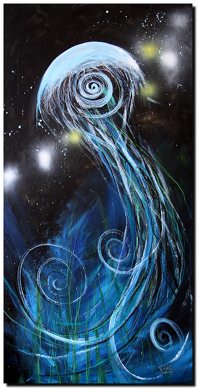Abstract Jellyfish Acrylic Painting
