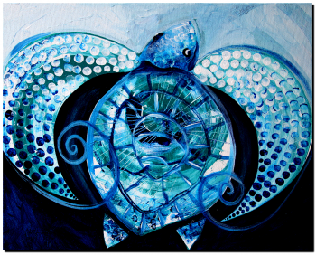 With the Blue  Modern Abstract Fish Art Artwork Paintings J Vincent Scarpace