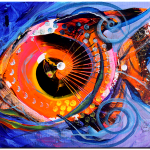 Demo Fish Stare  Modern Abstract Fish Art Artwork Paintings J Vincent Scarpace